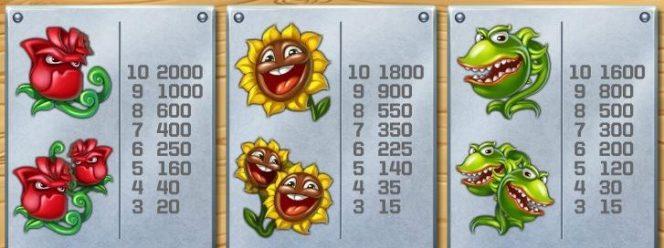 Tabela de Pagamento do jogo caça-níqueis Flowers