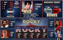 Tabela de Pagamentos da slot online grátis Rocky