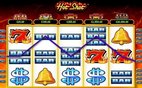 Linha vencedora no jogo de slot grátis online Hot Shot