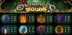 Tabela de pagamento do caça-níqueis de cassino Enchanted Woods