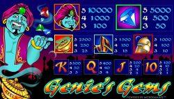 Tabela de Pagamento do jogo de cassino online Genie´s Gems