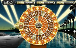 O jogo bônus Mega Jackpot, a Roda da Fortuna, do caça-níqueis online Mega Fortune Progressive jackpots