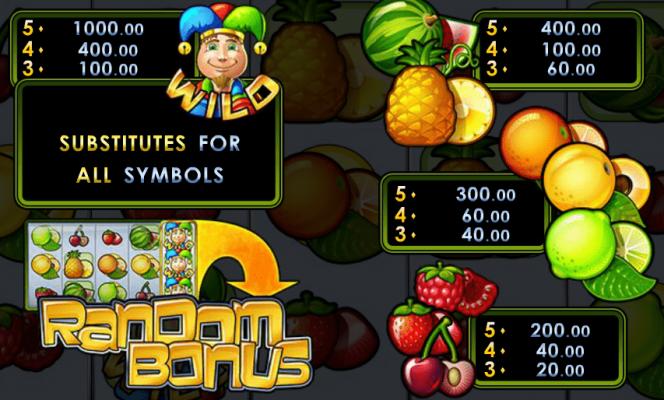Caça-níqueis grátis Random Joker –Tabela de pagamento