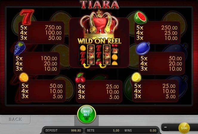 Tabela de pagamento do caça-níqueis de cassino online Tiara