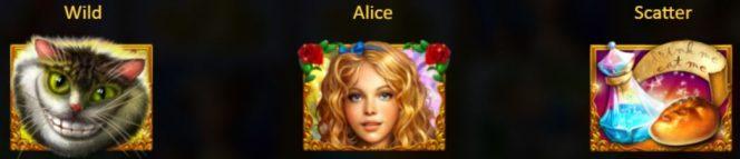 Símbolos Especiais do jogo de cassino Alice in Wonderslots