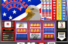 Uma foto da máquina caça-níqueis do cassino American Eagle